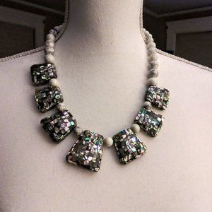 Marble and mosaic statement necklace